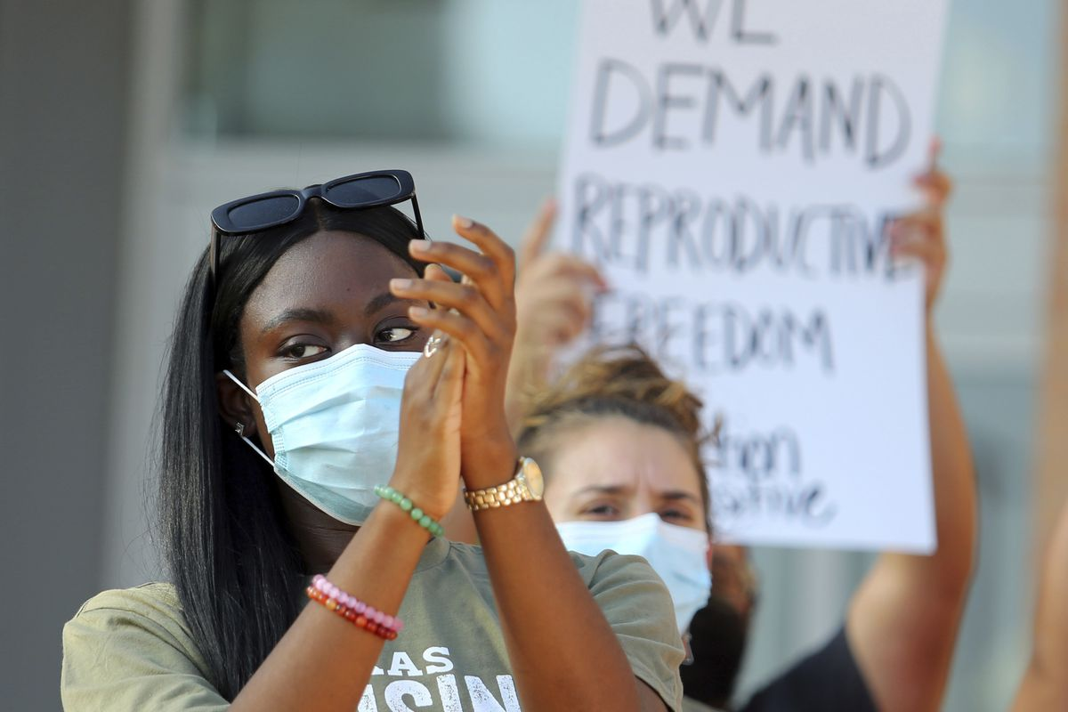 Abortion rights supporters protest in Edinburg, Texas, on Wednesday.
