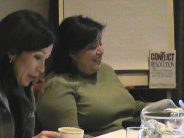 DPS board members Theresa Pena and Andrea Merida at Thursday's retreat