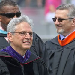 Supreme Court nominee Merrick Garland, front, last spoke at a Niles West graduation when he was valedictorian in 1970.   Tim Boyle/For the Sun-Times