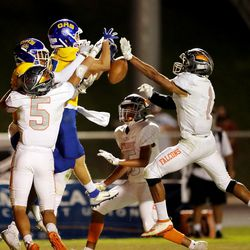 Skyridge and Orem play in a high school prep football game in Lehi on Friday, Aug. 28, 2020.