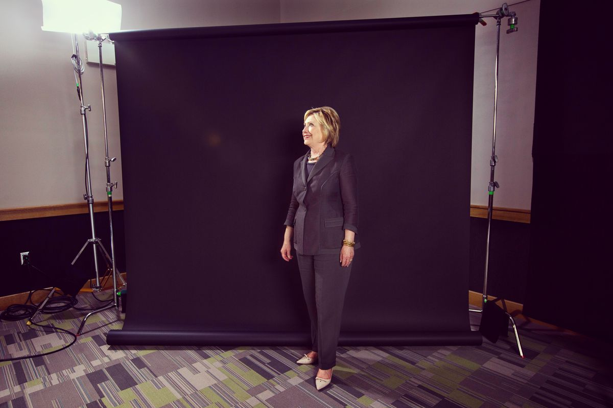 Hillary Clinton on set after her conversation with Ezra Klein in Raleigh, NC.