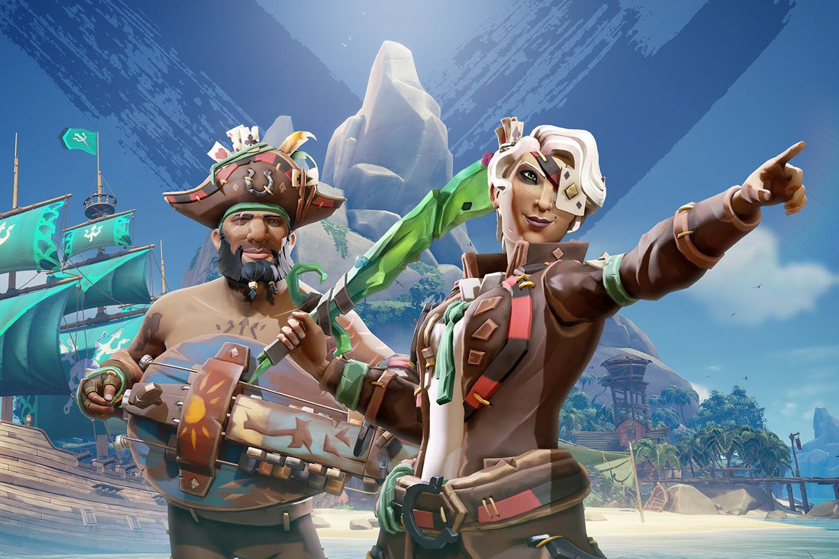 Sea of Thieves - season 2 key art, showing two pirates decked out in cool cosmetics