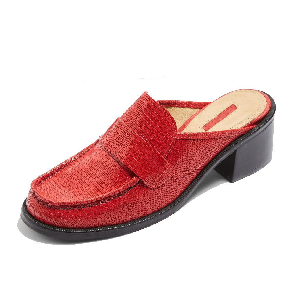 Red loafer mules