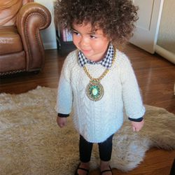 Top collar? Check. Chunky knit? Check. Statement necklace? Check. Chic flats? Check.