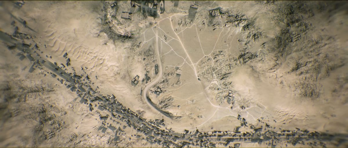 A live video feed shows the terrain for an ambush in Call of Duty: Modern Warfare. The level is called The Highway of Death, later renamed to Lie in Wait.