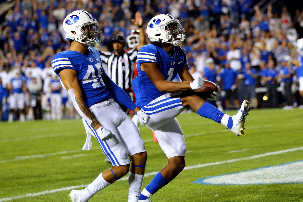 Brigham Young Cougars wide receiver Keanu Hill (1) celebrates a long catch setting up a Cougar score.