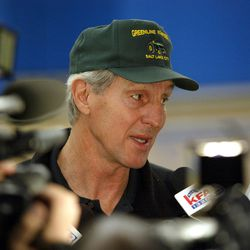 Coach Jerry Sloan talks to reporters about his seven-game suspension for having contact with a referee during a Sacramento Kings game Jan. 30, 2003.