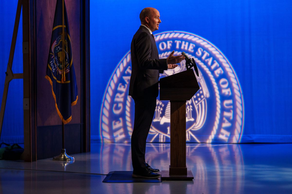 Gov. Spencer Cox speaks at his monthly news conference at the PBS Utah studios on the University of Utah campus in Salt Lake City on Thursday, May 20, 2021.