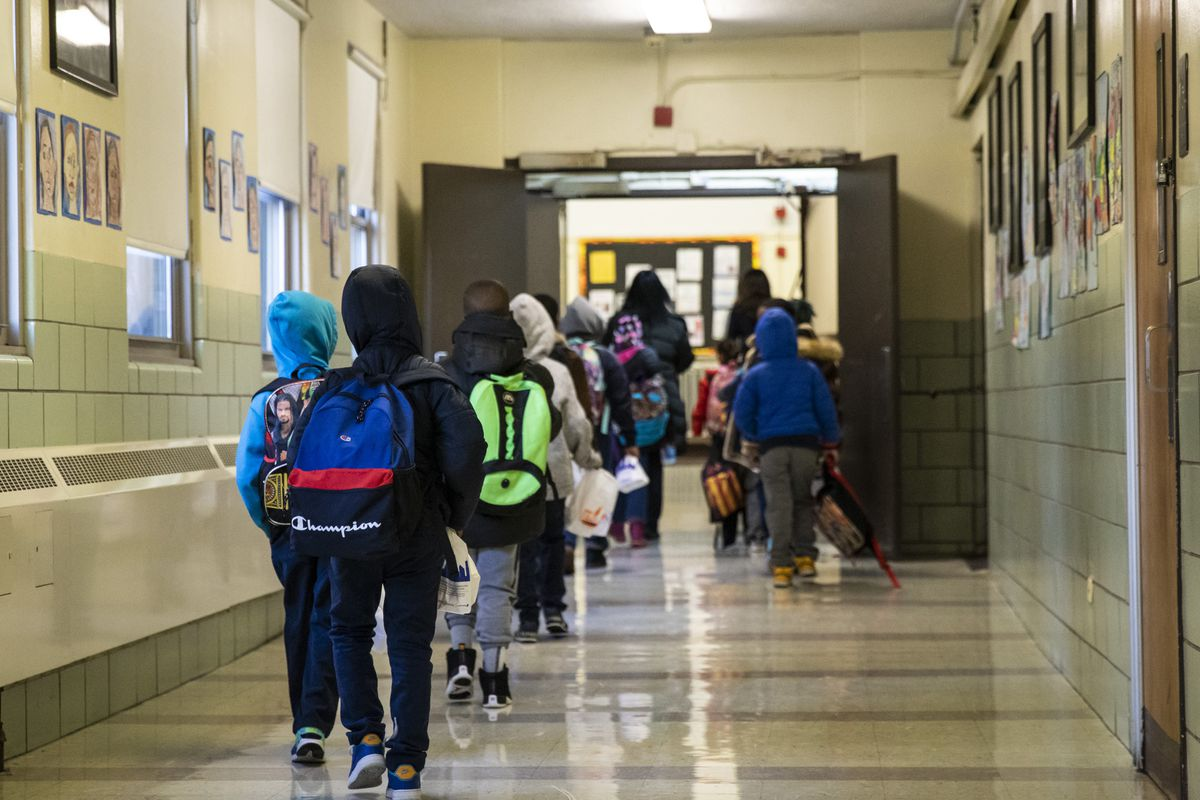 Students return to class at Roswell B. Mason Elementary School on the South Side after a Chicago Teachers Union strike closed schools for 11 days, Friday morning, Nov. 1, 2019. | Ashlee Rezin Garcia/Sun-Times
