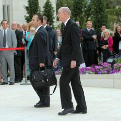 President Henry B. Eyring enters the Ogden temple Sunday for the rededication.