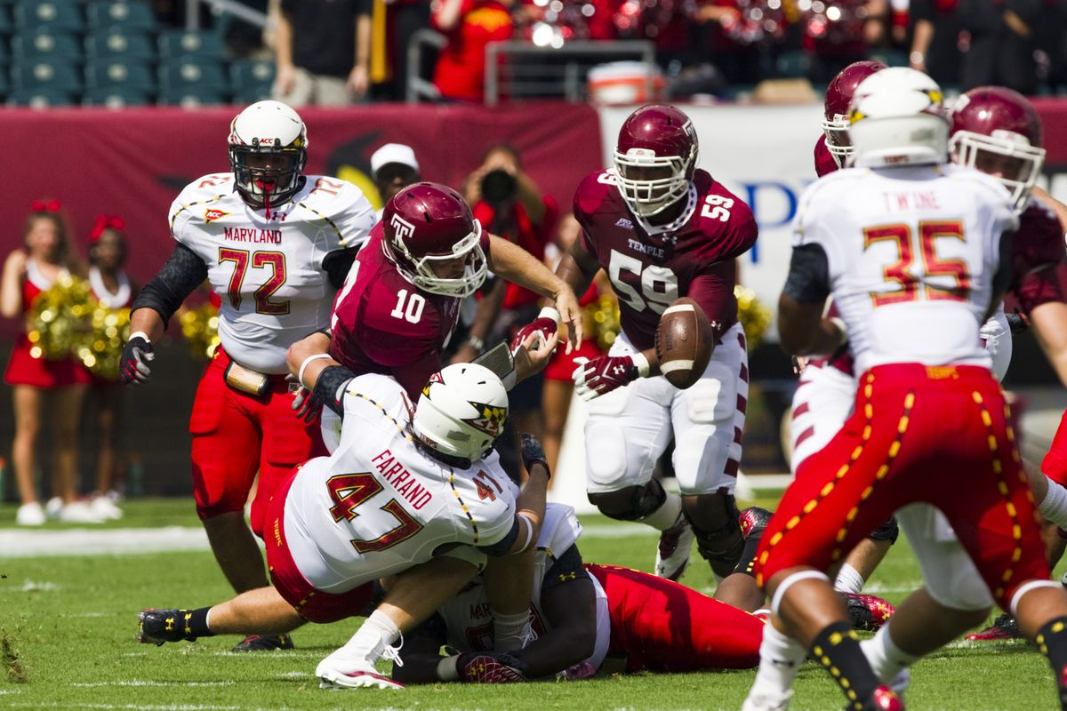 Sep 08, 2012; Philadelphia, PA, USA; Temple Owls quarterback Chris Coyer (10) looses a fumble during the first quarter against the Maryland Terrapins at Lincoln Financial Field. Mandatory Credit: Howard Smith-US PRESSWIRE