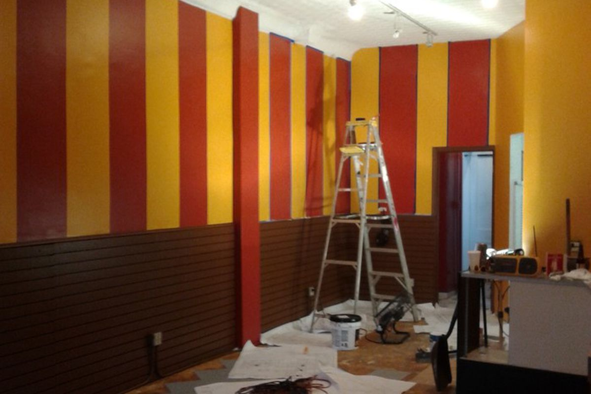 The lunch counter under construction
