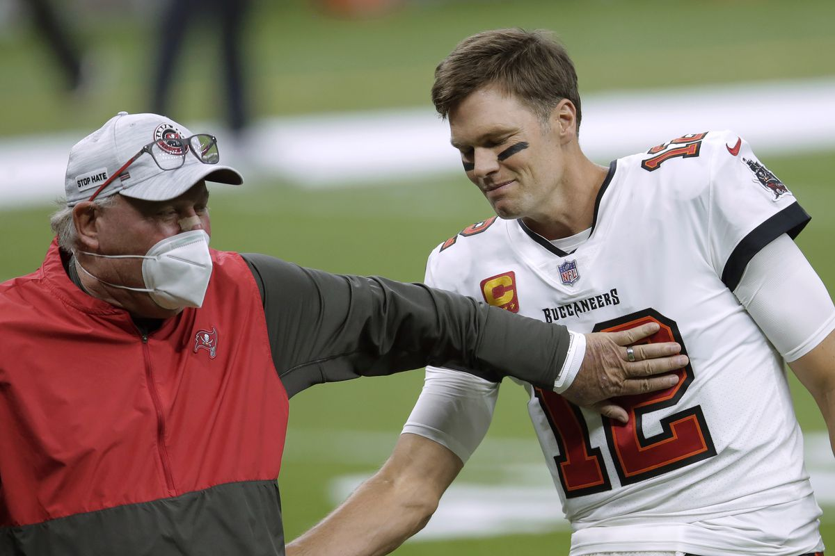 Bruce Arians (left) and Tom Brady (right) helped the Buccaneers jump from 7-9 in 2019 to 11-5 and a spot in the Super Bowl this season.
