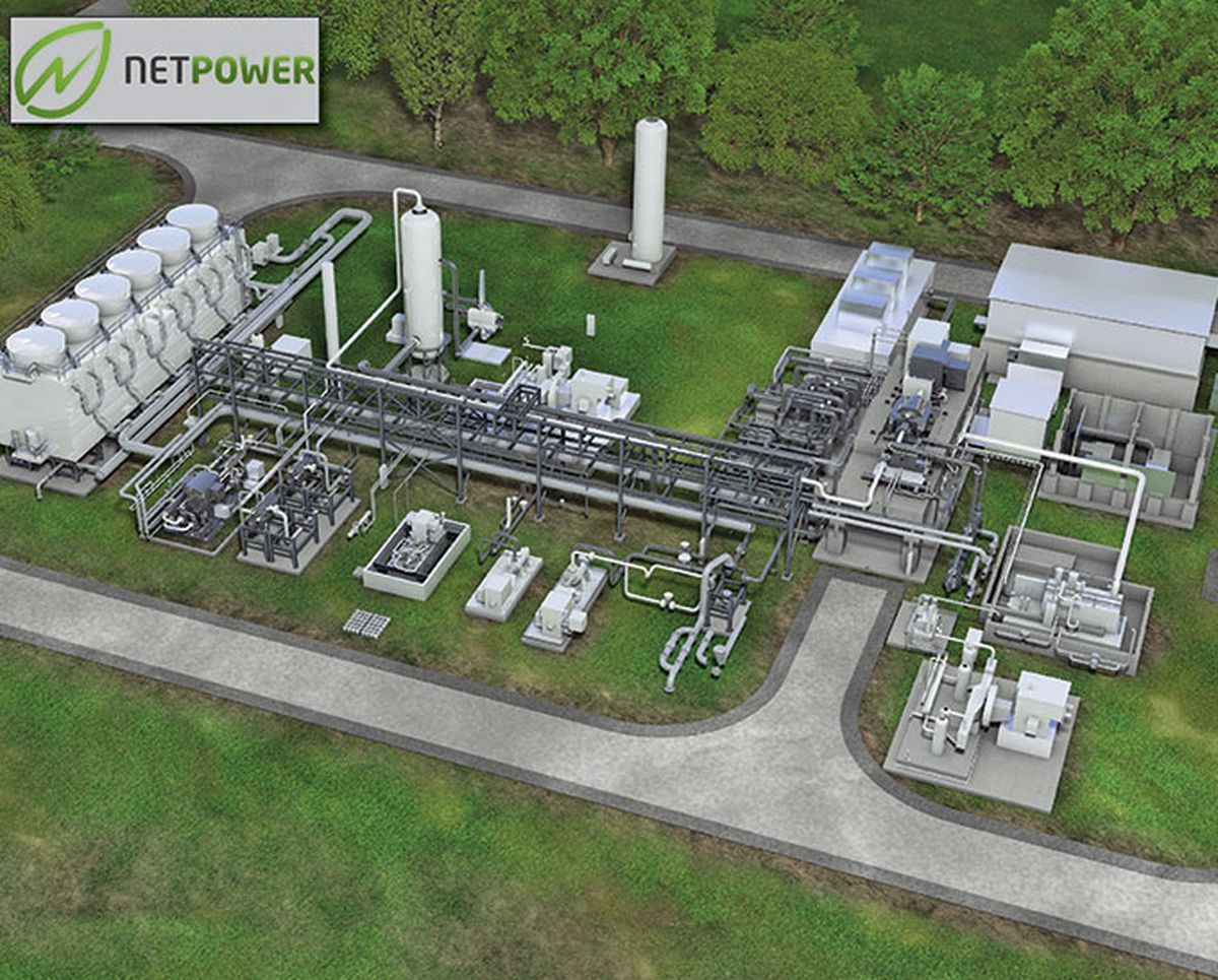 A rendering of Net Power's demonstration plant.