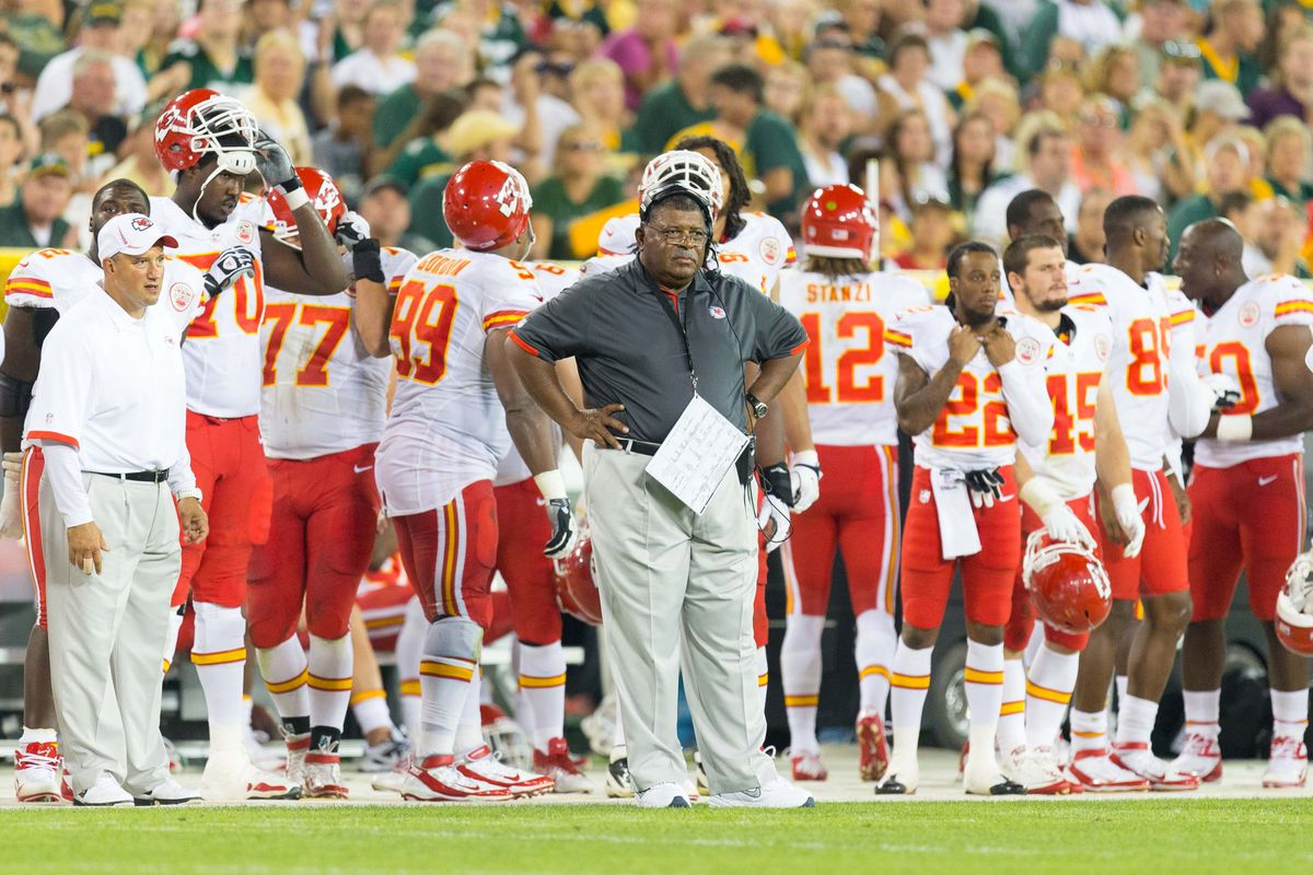 Aug 30, 2012; Green Bay, WI, USA; Kansas City Chiefs head coach Romeo Crennel looks on during the game against the Green Bay Packers at Lambeau Field.  The Packers defeated the Chiefs 24-3.  Mandatory Credit: Jeff Hanisch-US PRESSWIRE