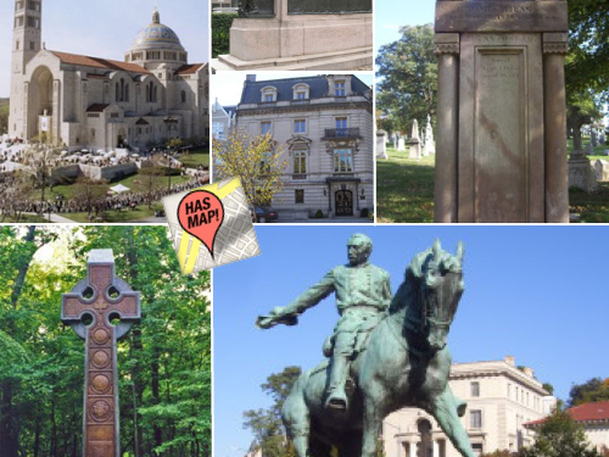 Mapping Irish Churches Monuments And Memorials In DC - Washington dc map of monuments