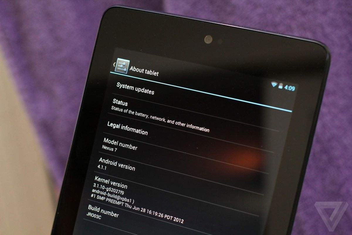 nexus 7 tablet android version