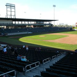 View from behind first base at Cubs Park