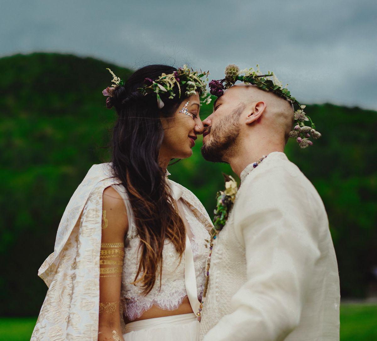 Saleena and Lawrence, founders of BKE Kombucha, on their wedding day