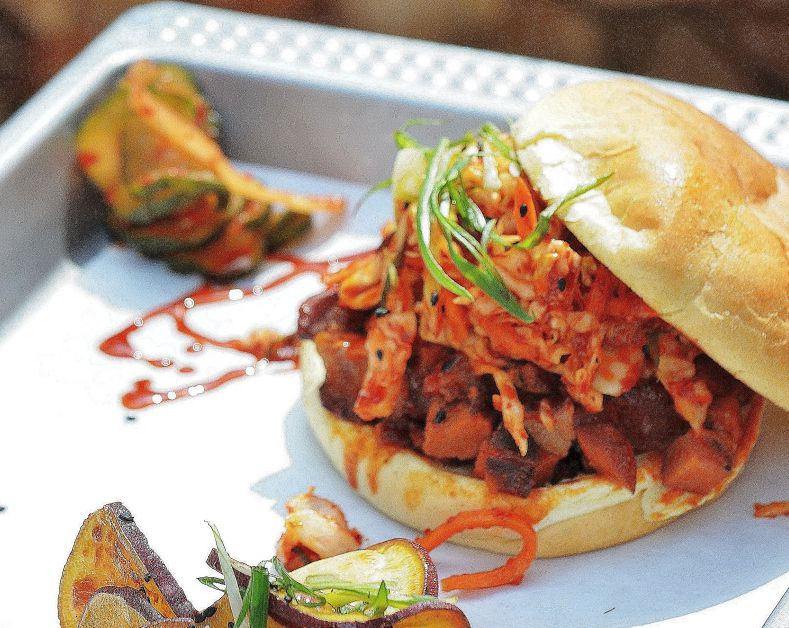 The spicy Korean BBQ pork sandwich at Heirloom BBQ