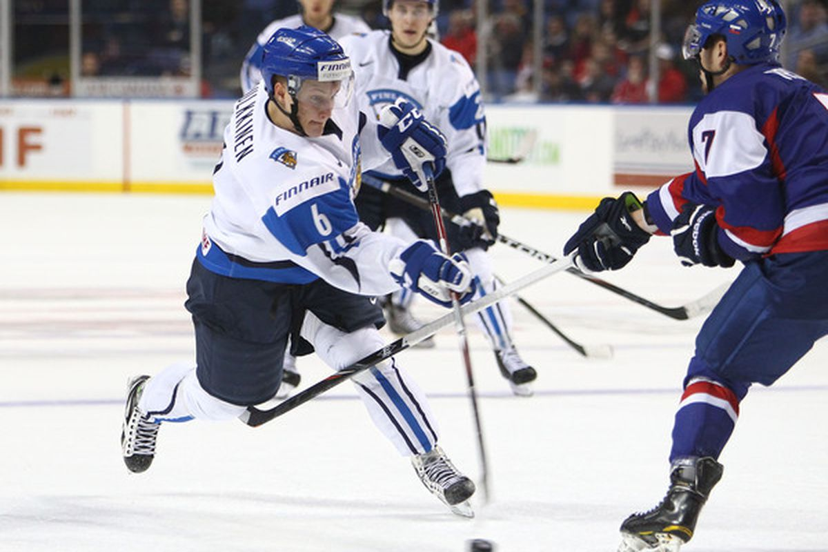 BUFFALO NY - DECEMBER 31: Forward Teemu Pulkkinen #6 of Finland fires a shot during the 2011 IIHF World U20 Championship game between Slovakia and Finland on December 31 2010 at HSBC Arena in Buffalo New York. (Photo by Tom Szczerbowski/Getty Images)