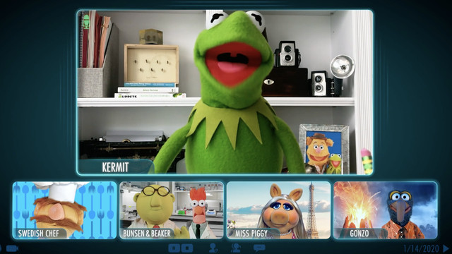 kermit on a video call with the other muppets