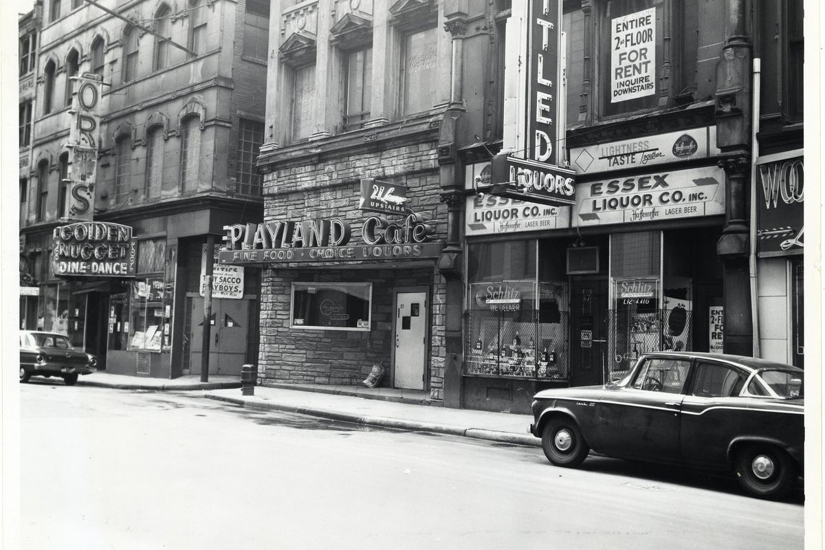 The facade of Playland Cafe during the 1960s. Playland Cafe was Boston's oldest gay bar when it closed in 1998.