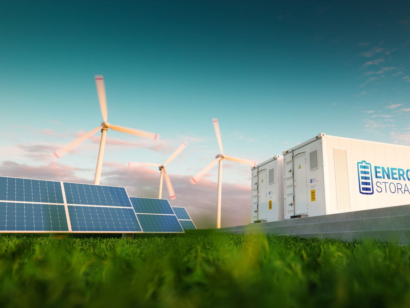 A photo-illustration of renewable energy sources, including solar panels and wind turbines.