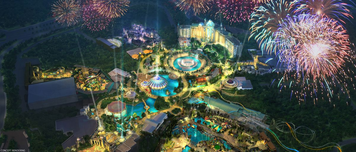 concept art for universal orlando resort's epic universe theme park, featuring five lands, a hotel, a strip of shops and a new roller coaster