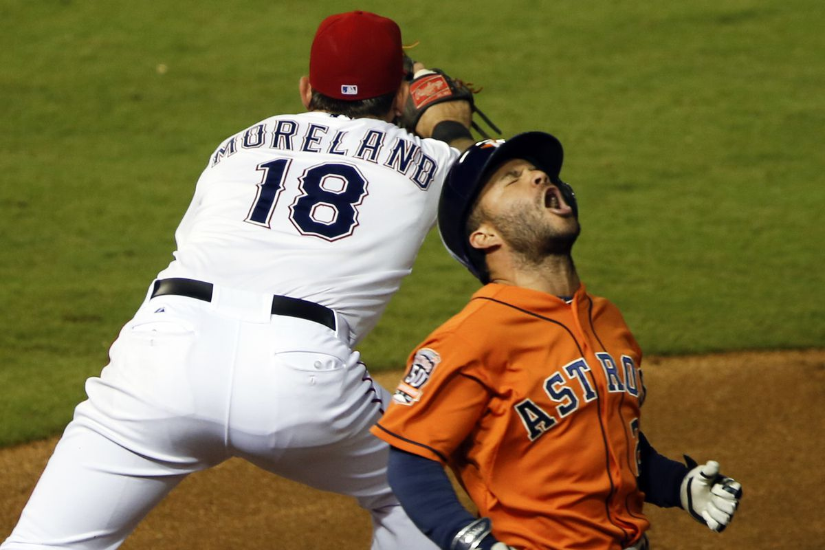 Altuve's face when the Rangers came and took it
