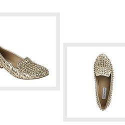 """From Steve Madden, the <a href=""""http://www.stevemadden.com/Item.aspx?id=92202&np"""">Gold Studlyy Loafers</a> ($47.99)."""