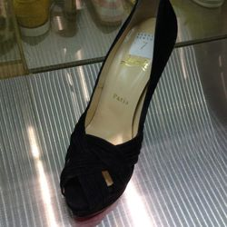 Black Suede Christian Louboutin Heel, $599 (from $995)