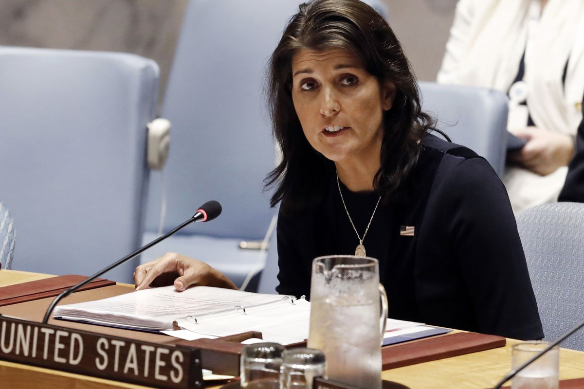 In this Sept. 17, 2018, file photo, U.S. Ambassador Nikki Haley addresses the United Nations Security Council at U.N. headquarters in New York.