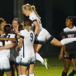 BYU Michele Vasconcelos (7) celebrates a goal with teammates as BYU and UNLV play in the first round of the NCAA tournament in Provo on Friday, Nov. 11, 2016.