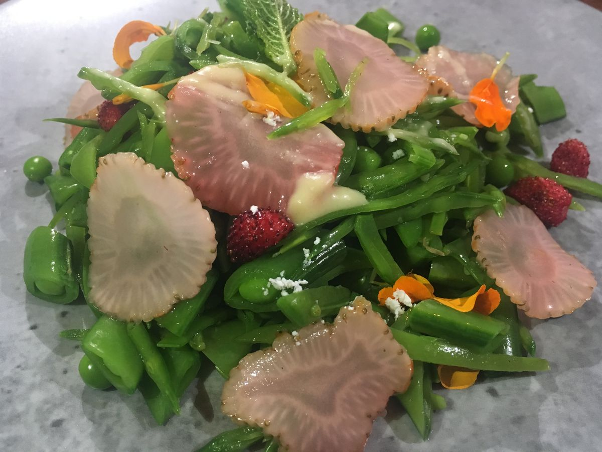 Snow pea and strawberry salad at Queensyard