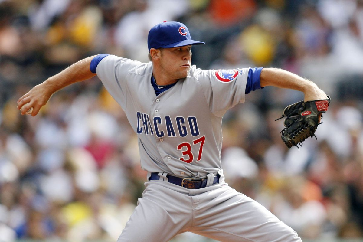 Pittsburgh, PA, USA; Chicago Cubs pitcher Jaye Chapman pitches against the Pittsburgh Pirates at PNC Park. Credit: Charles LeClaire-US PRESSWIRE