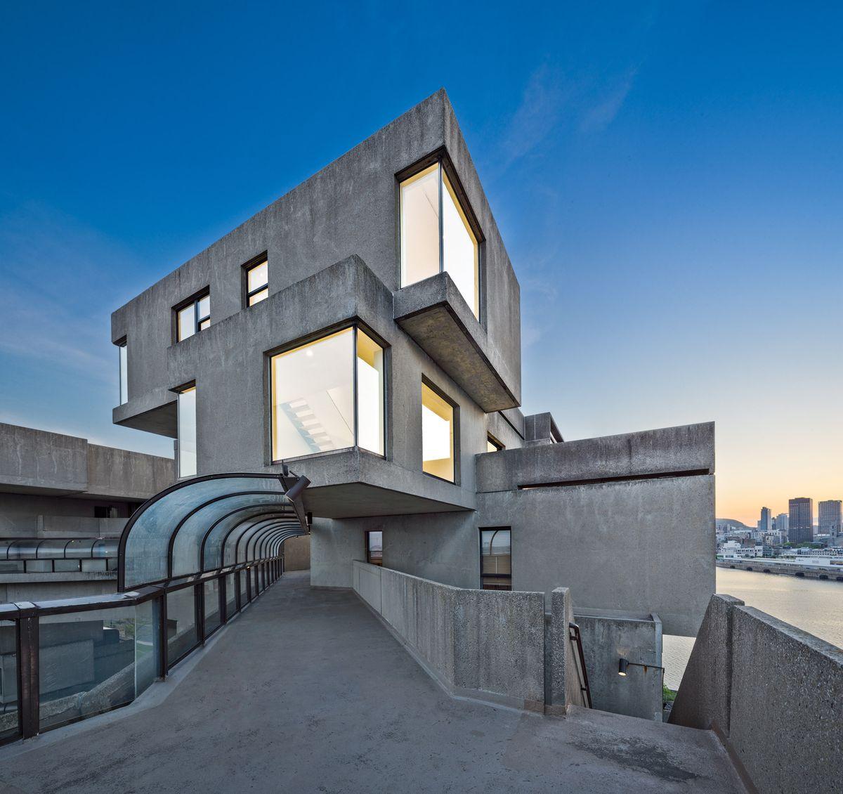 Concrete building with terrace