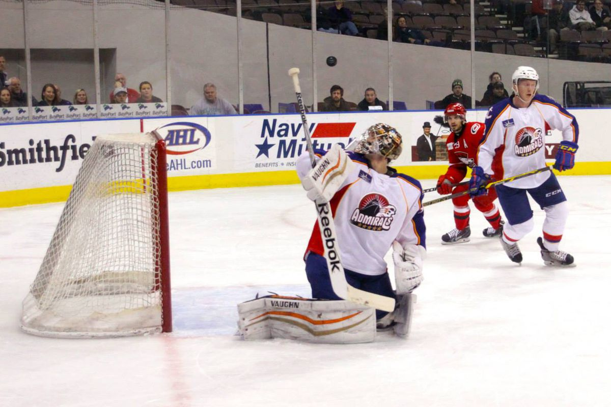 John Gibsion tracks the puck after a save at Scope Jan 21, 2015