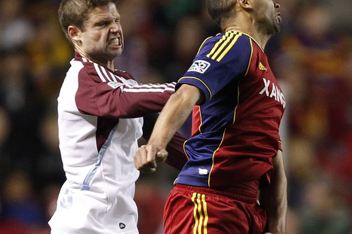 SANDY, UT - APRIL 7: Alvaro Saborio #15 of Real Salt Lake and Drew Moor #3 of Colorado Rapids make silly faces at Rio Tinto Stadium in Sandy, Utah. Real Salt Lake beat the Colorado Rapids 2-0. (Photo by George Frey/Getty Images)