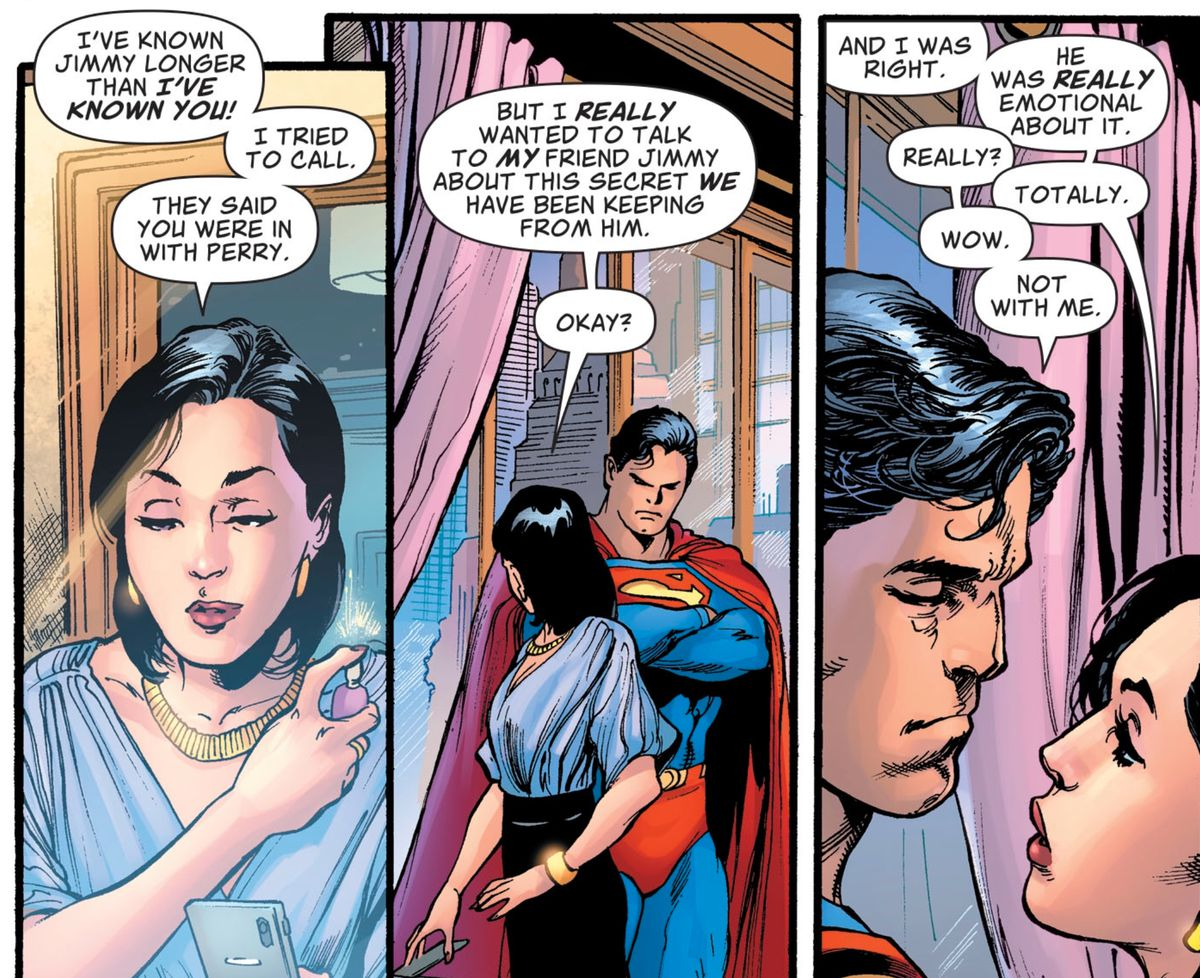 """""""I've known Jimmy longer than I've known you!"""" Lois Lane explains why she told Jimmy that Clark is Superman before Clark could do it. """"He was really emotional about it,"""" in Superman #18, DC Comics (2019)."""