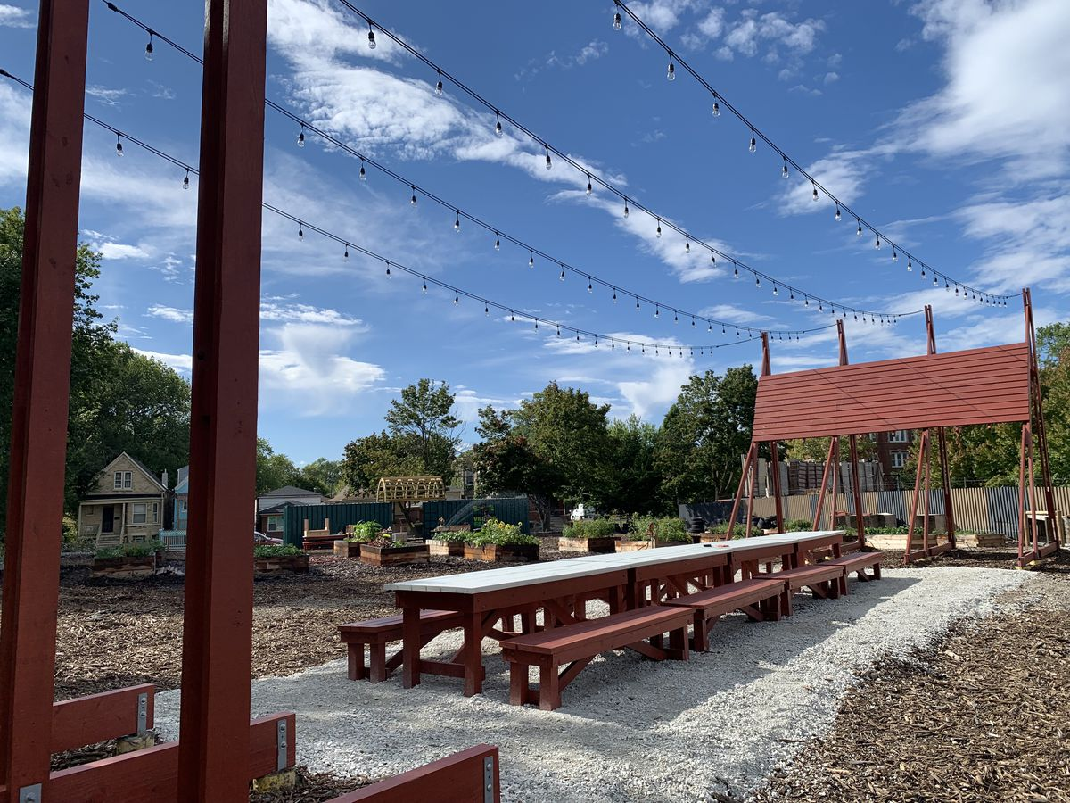 Designed by Tokyo architecture firm Atelier Bow-Wow, the table and plaza will serve as a community meeting space for Englewood residents. Englewood Village Plaza also hosts a garden.