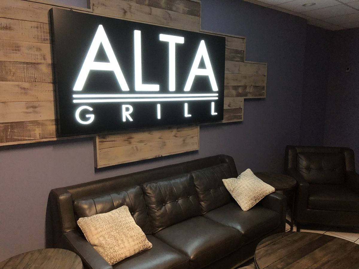 The waiting area of the Alta Grill in southwest suburban McCook.
