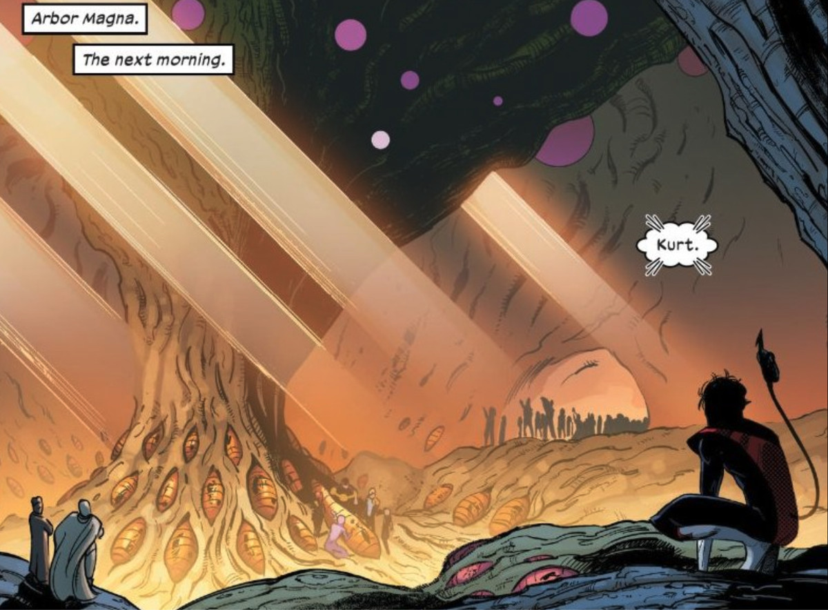 Nightcrawler overlooks the Hatchery, where mutants are resurrected in Way of X #1, Marvel Comics (2021)