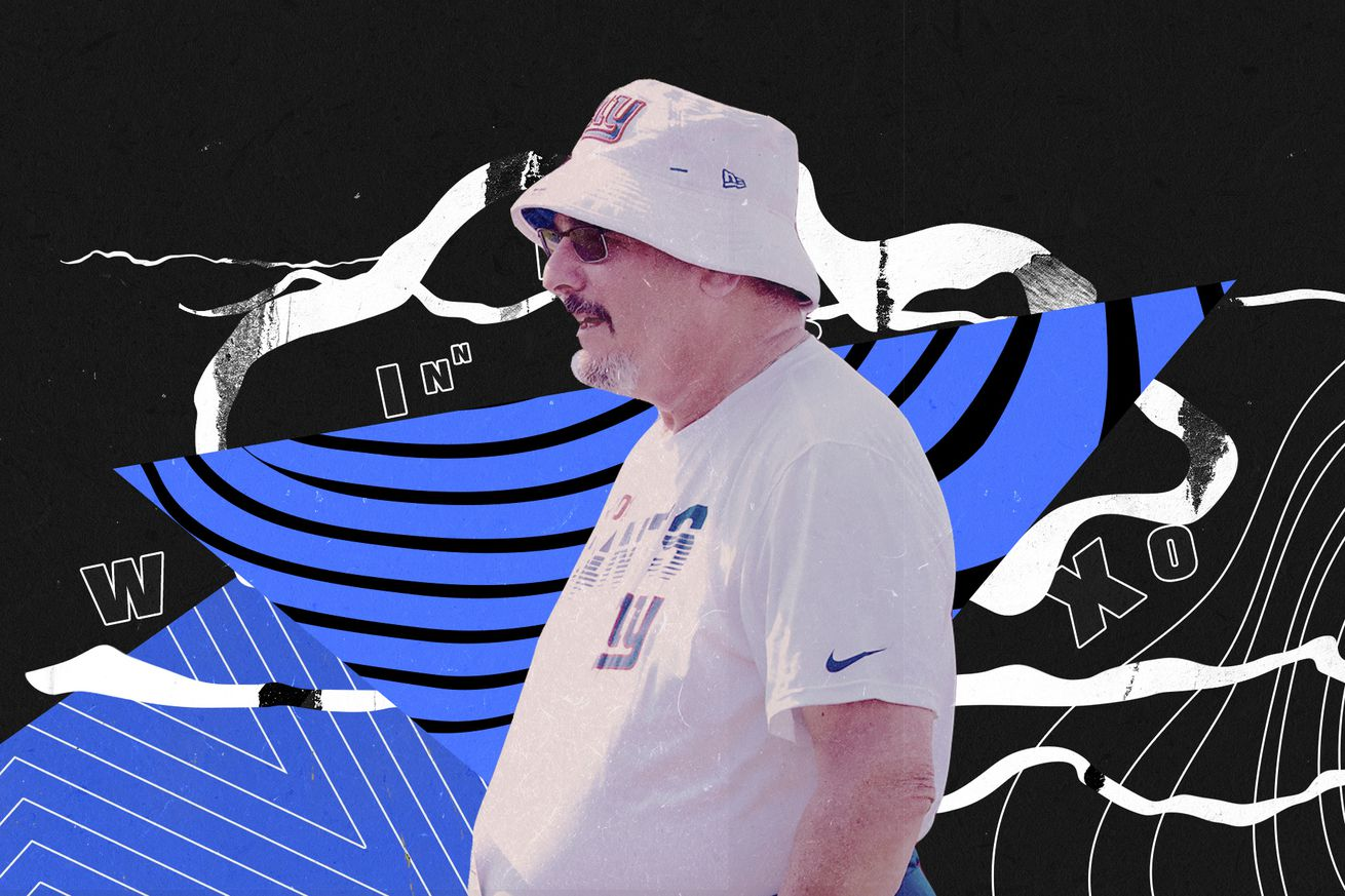 Profile of NY Giants GM Dave Gettleman, wearing a hat, superimposed on a blue and black background