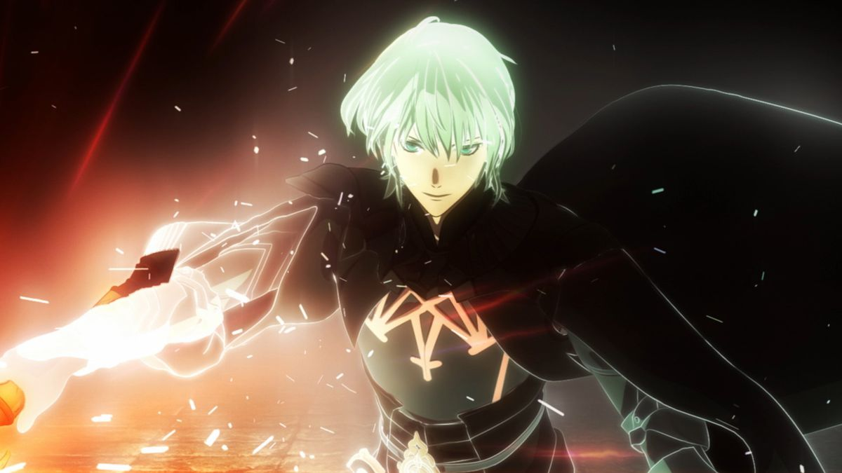 Byleth with a badass sword in Fire Emblem: Three Houses