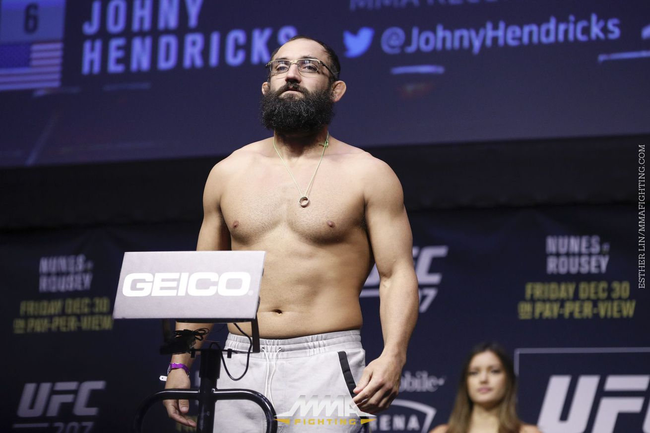 Johny Hendricks (pictured) will now fight Dakota Cochrane at a World Bare Knuckle Fighting Federation show in Friday