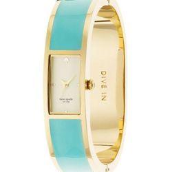 "Carousel Bangle in turquoise, <a href=http://www.katespade.com/carousel-bangle/1YRU0051,default,pd.html?dwvar_1YRU0051_color=411&start=2&cgid=watches"">$250</a>."