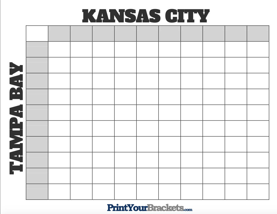This standard, blank Super Bowl squares image has Kansas City along the top row and Tampa Bay along the left-most column.