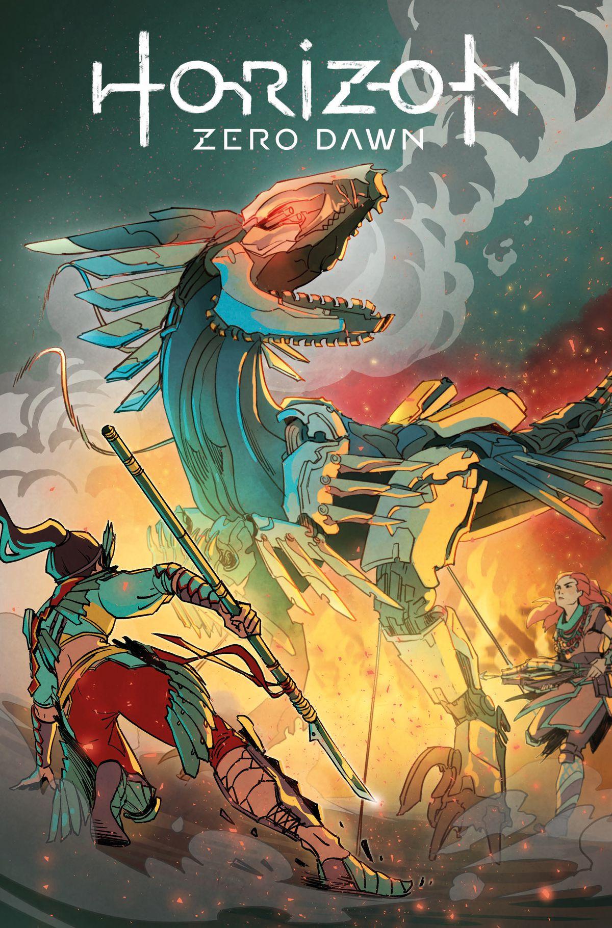 Cover D for Horizon Zero Dawn #1, Titan Comics (2020), with a mechanical dinosaur beast and Talanah