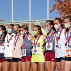 The 5A girls state cross-country championships are held at Soldier Hollow in Midway on Thursday, Oct. 22, 2020.